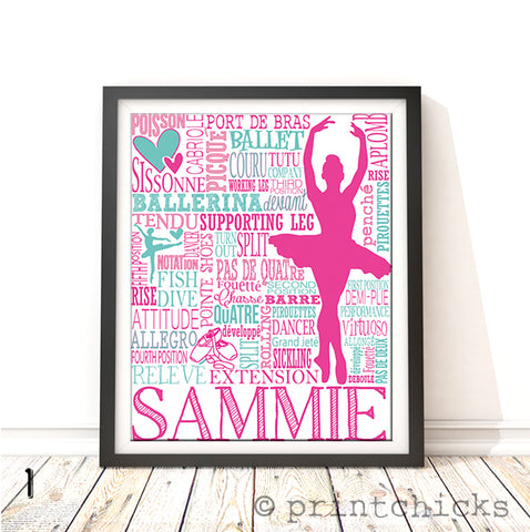 Ballet Personalized Typography Print - PrintChicks