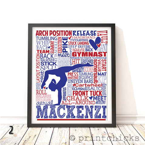 Gymnastic Personalized Typography Print - PrintChicks