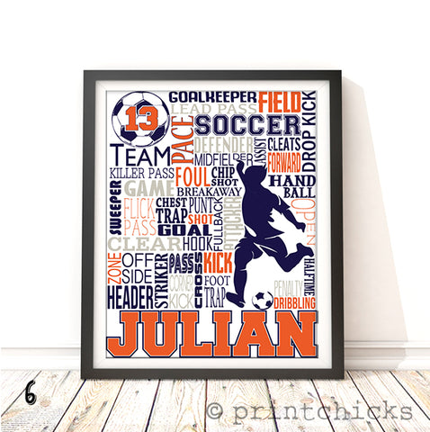 Boys Soccer Personalized Typography Print - PrintChicks