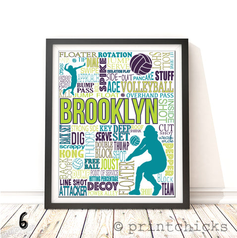 Girls Volleyball Personalized Typography Print - PrintChicks