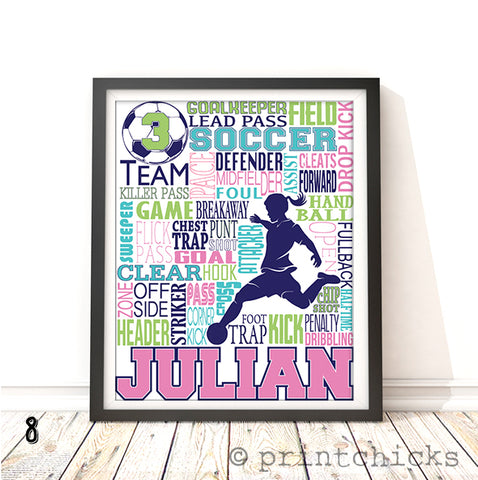 Girls Soccer Personalized Print - PrintChicks