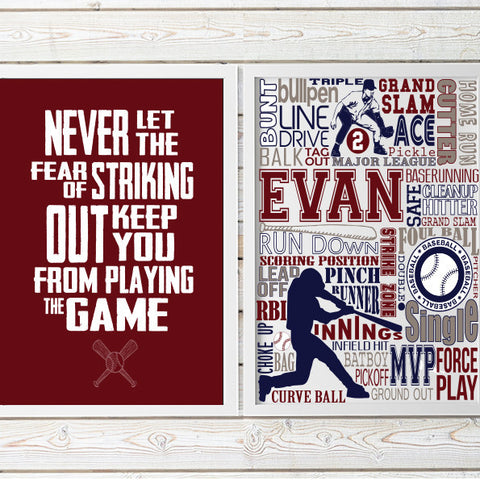 personalized baseball print