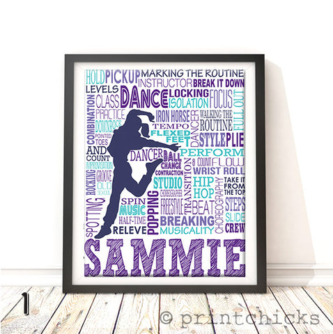 Hip Hop Dance Typography Personalized Print - PrintChicks