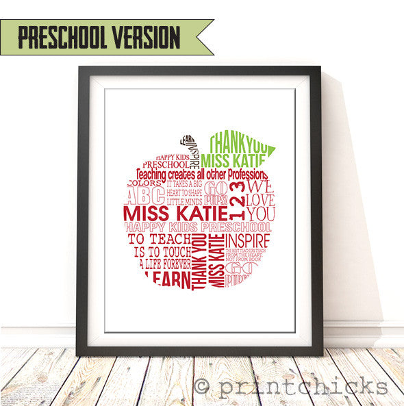 teacher apple personalized print printchicks - Teacher Pictures To Print