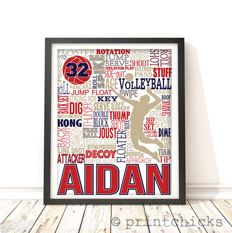 Boys Volleyball Personalized Typography Print - PrintChicks