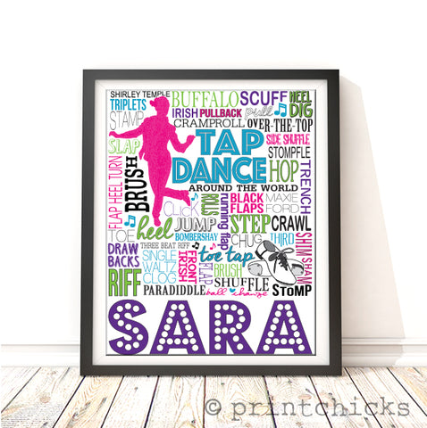 Tap Dance Typography Personalized Print - PrintChicks