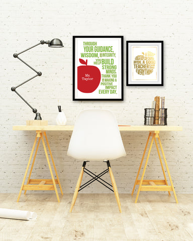 Teacher Gold Foil Apple Quote Print - PrintChicks