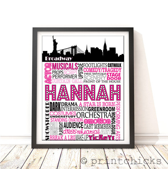 Theater Decor Broadway Poster Personalized Musical
