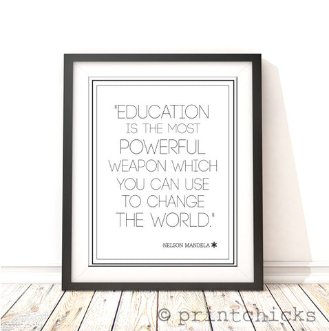 Education Is The Most Powerful Weapon-Nelson Mandela Quote Foil Print - PrintChicks