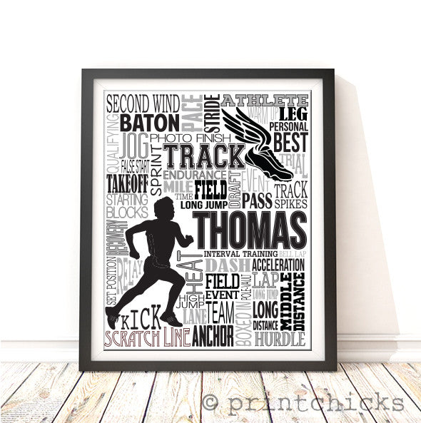 Track Or Cross Country Personalized Typography Print