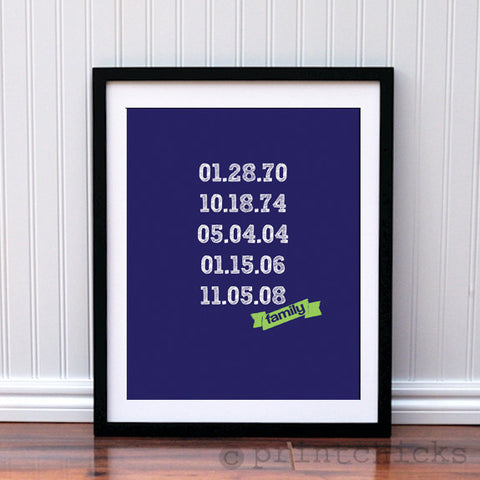 Important Dates Typography Print - PrintChicks