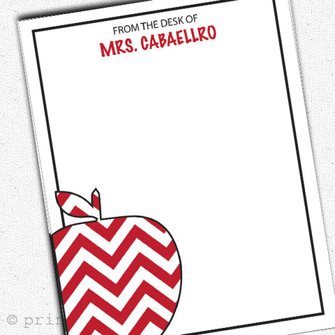 Teacher Chevron Apple Notepads - PrintChicks