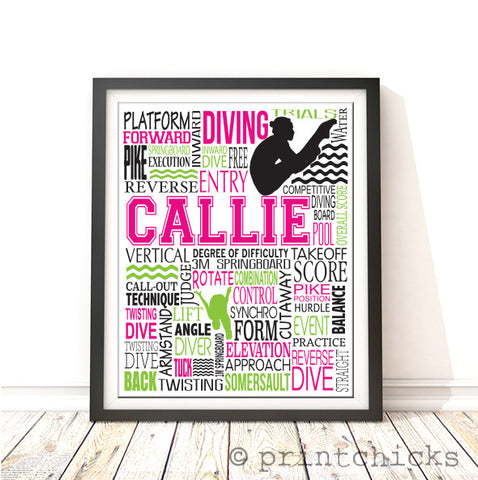 Diving Personalized Print - PrintChicks