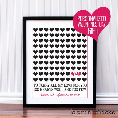 100 Hearts Personalized Print - PrintChicks