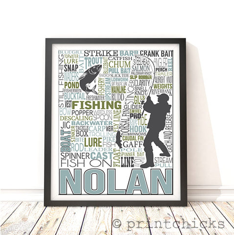 personalized fishing print