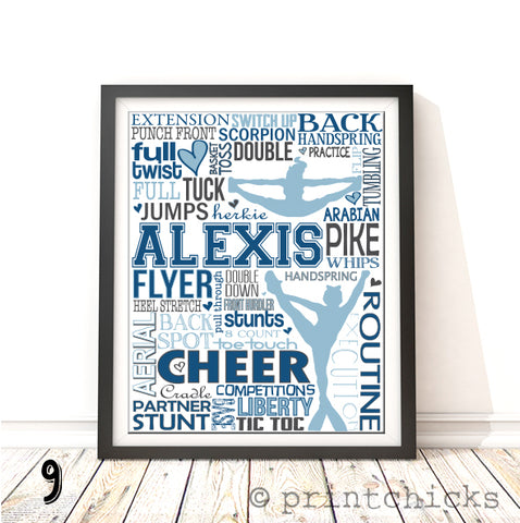 Competitive Cheer Personalized Typography Print - PrintChicks