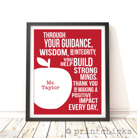 Personalized Teacher Quote Typography Print - PrintChicks