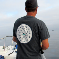 Fish School T-Shirt - Back - Fishing on boat