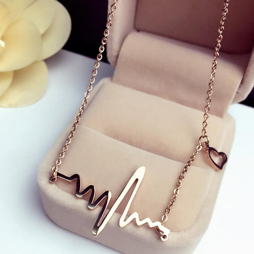 ROSE GOLD HEARTBEAT NECKLACE