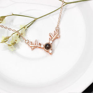 I LOVE YOU 100 LANGUAGES DEER SHAPE NECKLACE