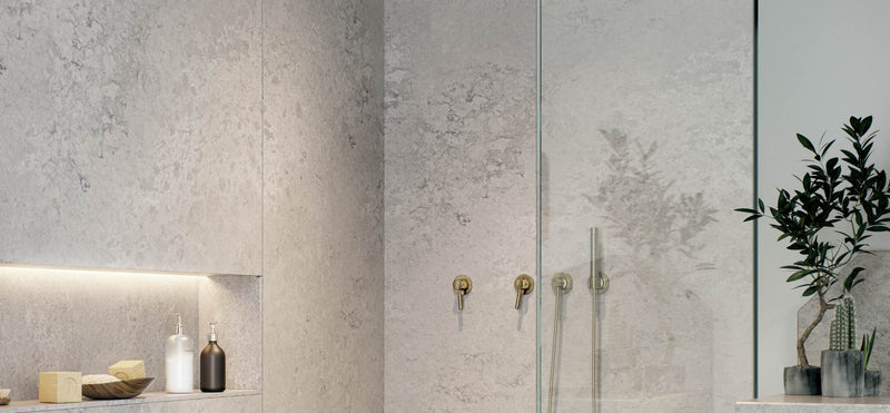 shower wall from airy concrete