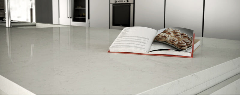 cooking book on the london grey quartz kitchen island
