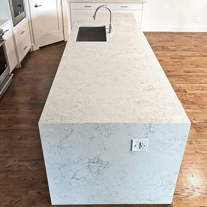waterfall kitchen island with mitered edge