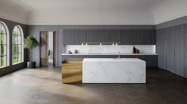 empire white quartz island with grey modern cabinets