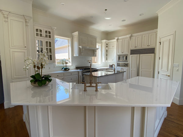 Flawless White Marble Kitchen Countertop, FLOWER MOUND, TX