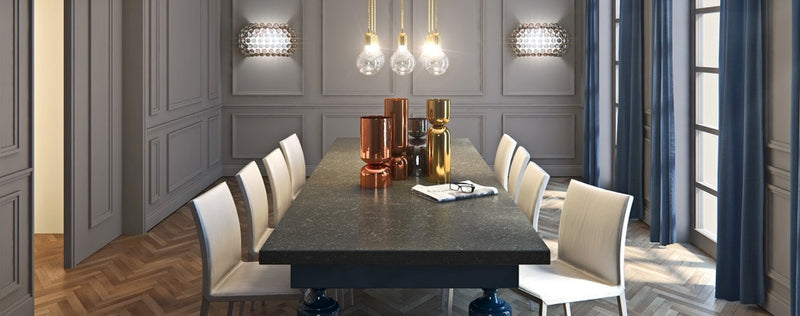 dining table from piatra grey caesarstone quartz