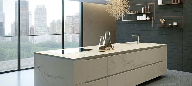 statuario nuvoletti kitchen island with waterfall