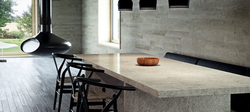 dining table made from symphony grey caesarstone