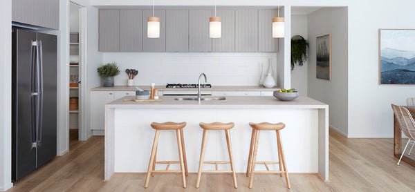 white kitchen with tops concrete countertops