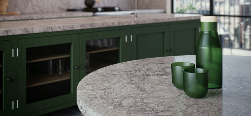green cabinets with turbine grey countertops
