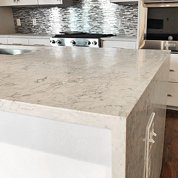 mitered edge quartz kitchen island