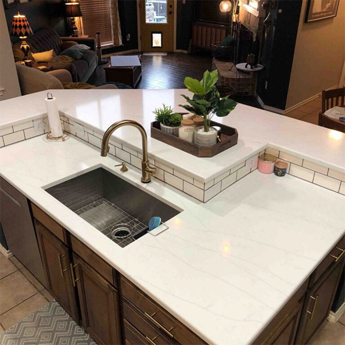 calacatta quartz island with single bowl sink