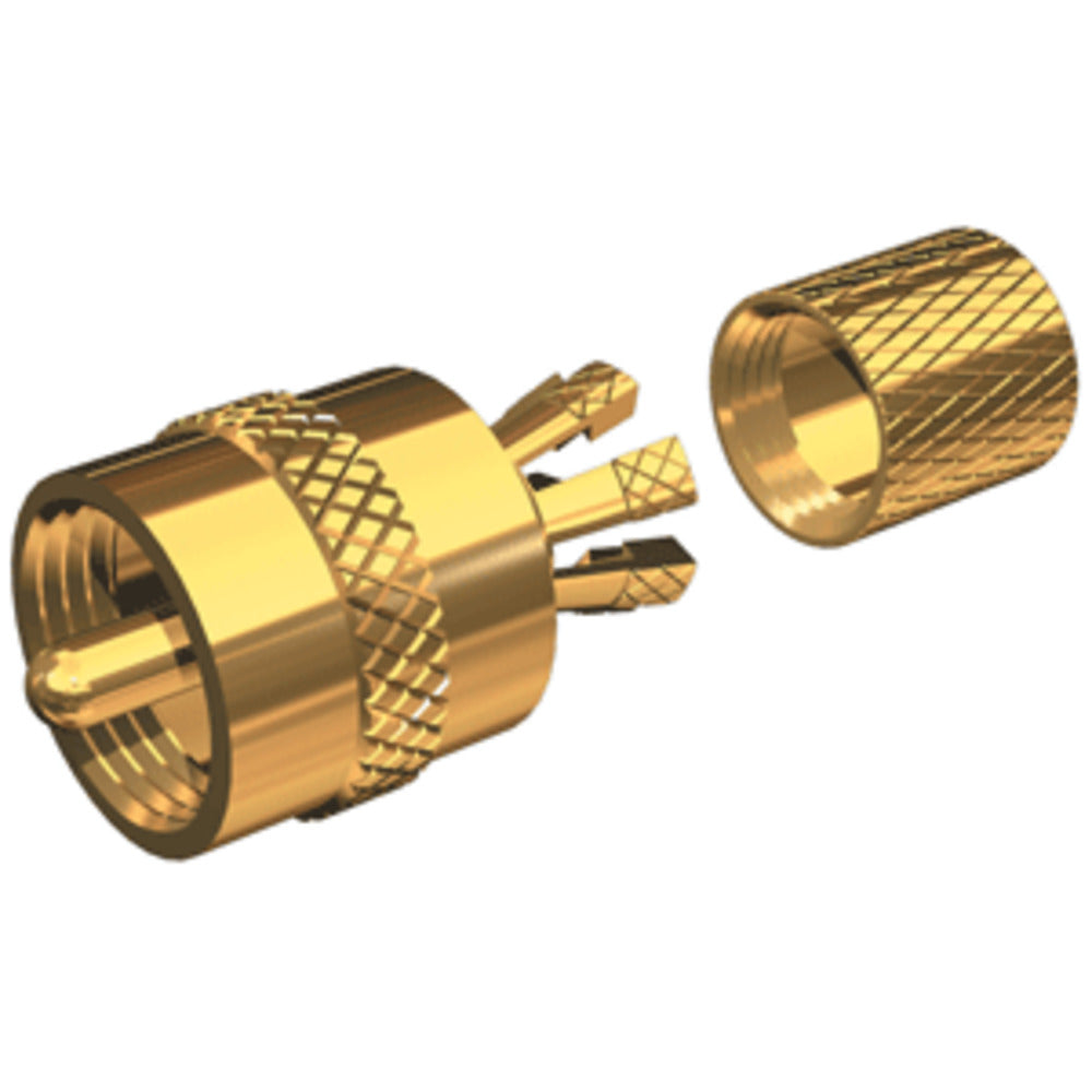 Shakespeare PL-259-CP-G - Solderless PL-259 Connector for RG-8X or RG-58/AU Coax - Gold Plated
