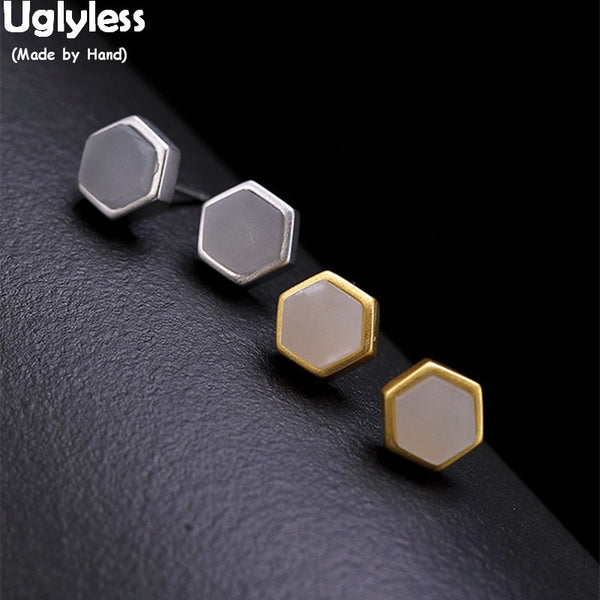 Uglyless MINI Size Pretty Geometric Like a Nest Stud Earrings for Women Nature White Jade Studs Real Solid 925 Silver Fine Jewel