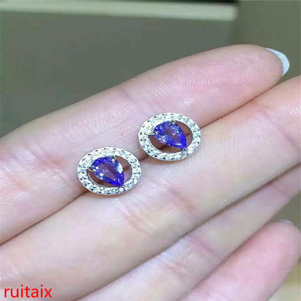 KJJEAXCMY fine jewelry 925Pure silver inlaid with natural stone tanzanite earring jewelry jewel.