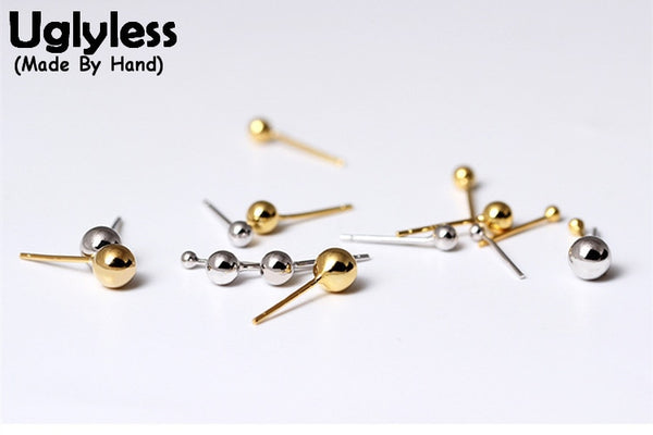 Uglyless Real S925 Sterling Silver Balls Stud Earrings Simple Unisex Studs 2-5MM Small Size Brincos Bijoux Women Men Beads Jewel