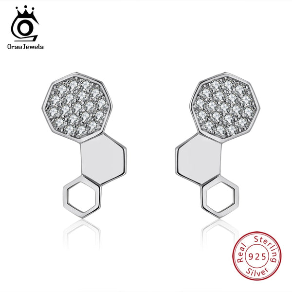 ORSA JEWELS Real 925 Sterling Silver Stud Earrings Honey Comb Shape With AAA Cubic Zircon Silver Earing Fashion Jewelry OSE92