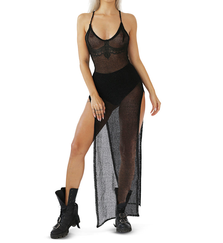 BLACK METAL MESH DRESS FRONT