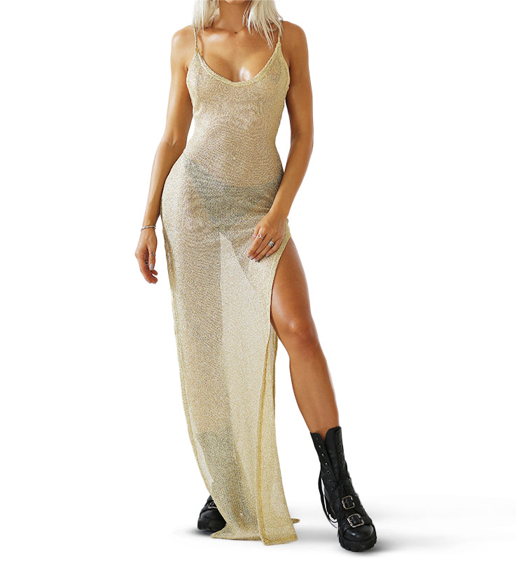 GOLD METAL MESH DRESS FRONT