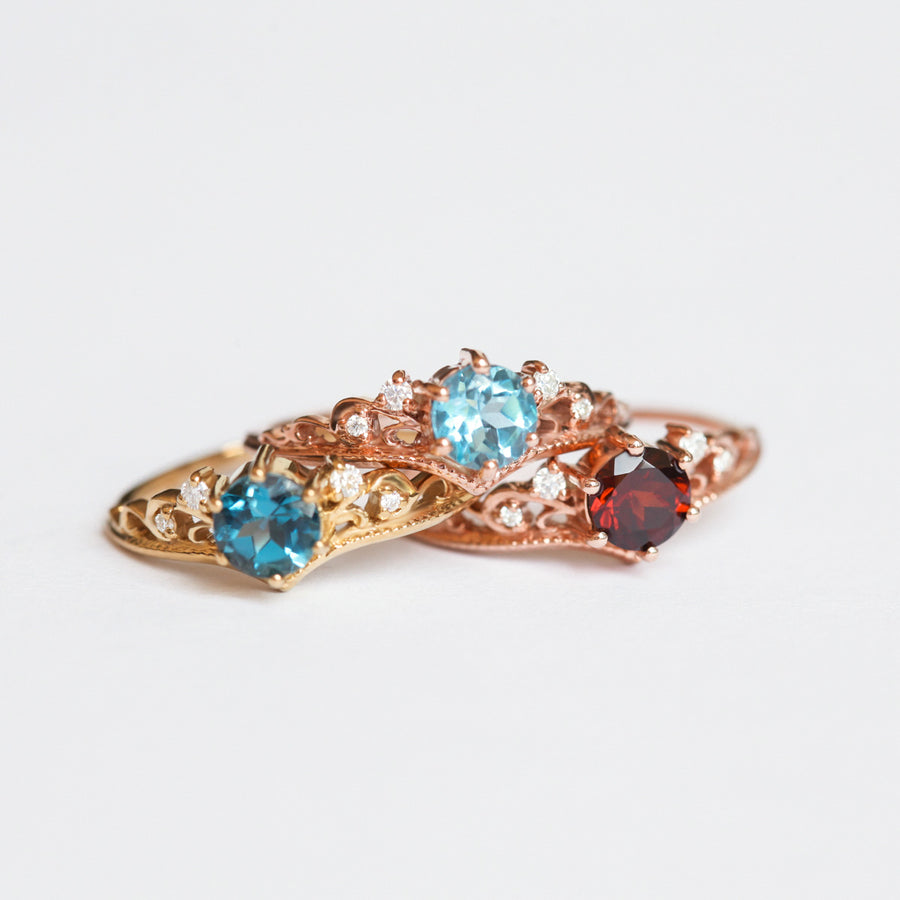 Lorna Vintage Solitaire ring with Swiss Blue Topaz
