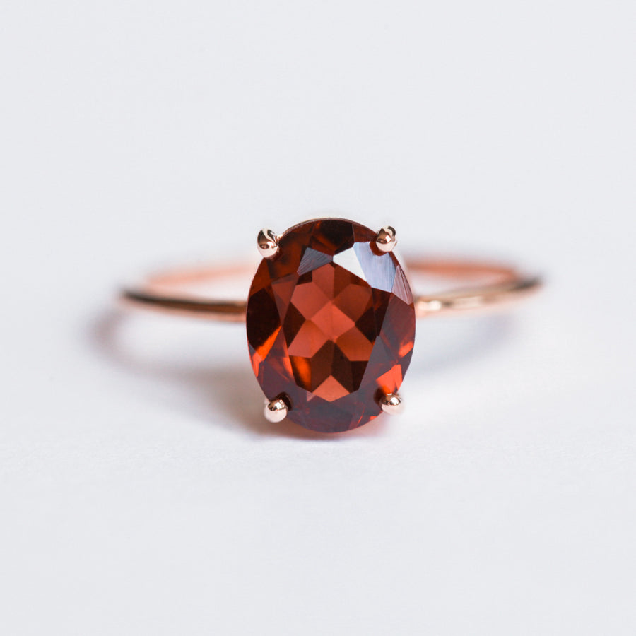 Blake Oval Garnet Solitaire Ring