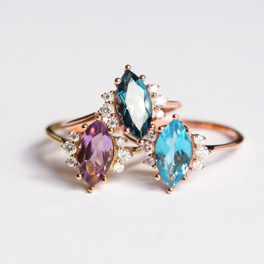 Sophia Marquise cut Swiss Blue Topaz Ring