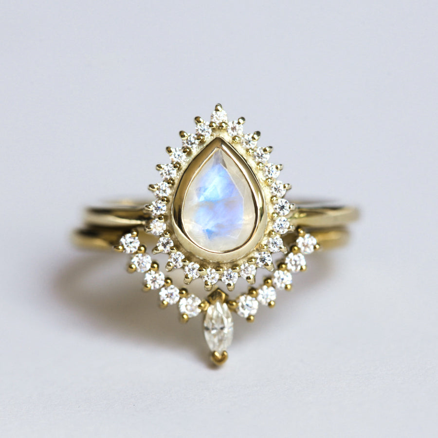 Venus Ring Set with Pear Halo Moonstone