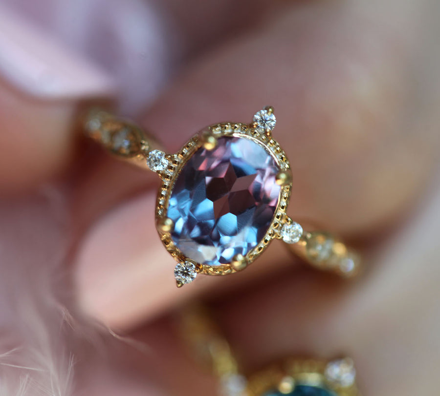 Amelia Oval Vintage Inspired Lab Alexandrite Ring