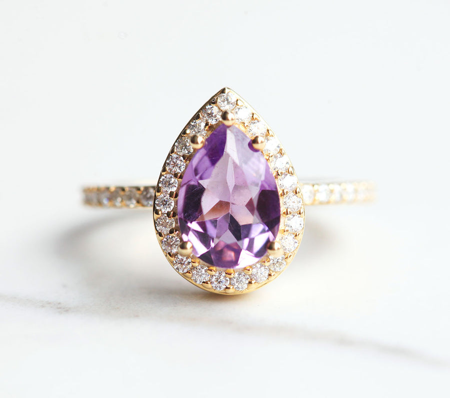 Britney Pear Amethyst Ring with Moissanite Pave Halo
