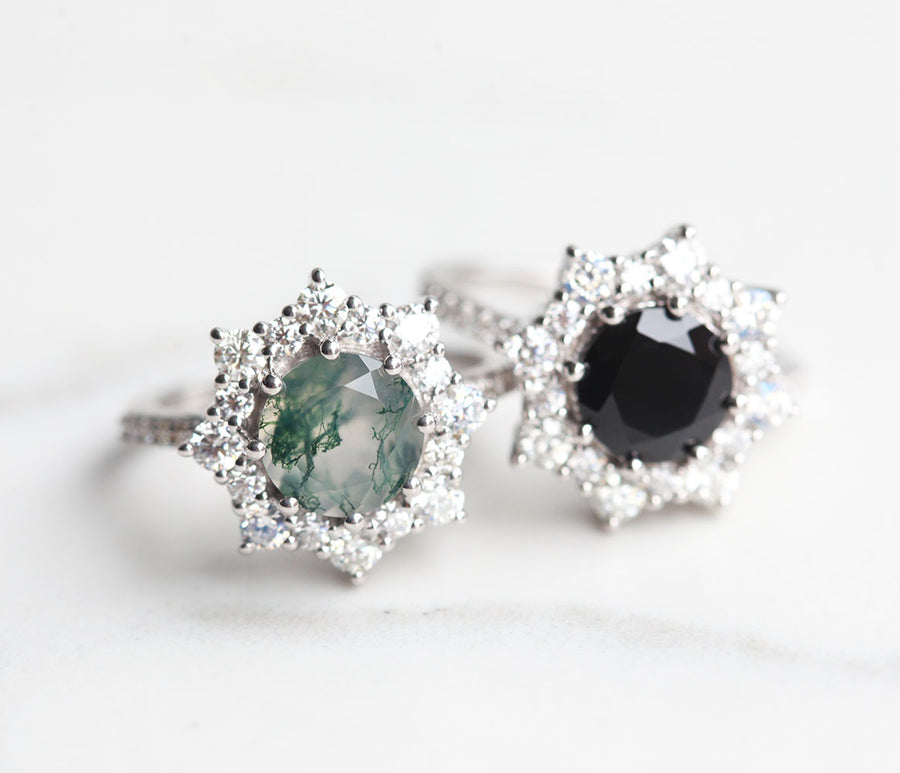 Jessica Round Black Spinel with Halo Moissanites
